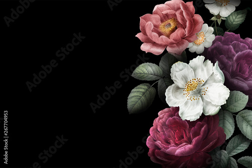Blooming roses banner