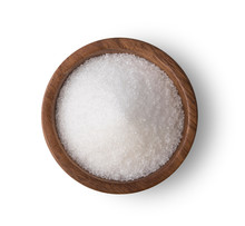 Sugar In Wooden Bowl On White Background