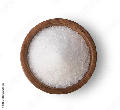 Fototapeta Sugar in wooden bowl on white background obraz