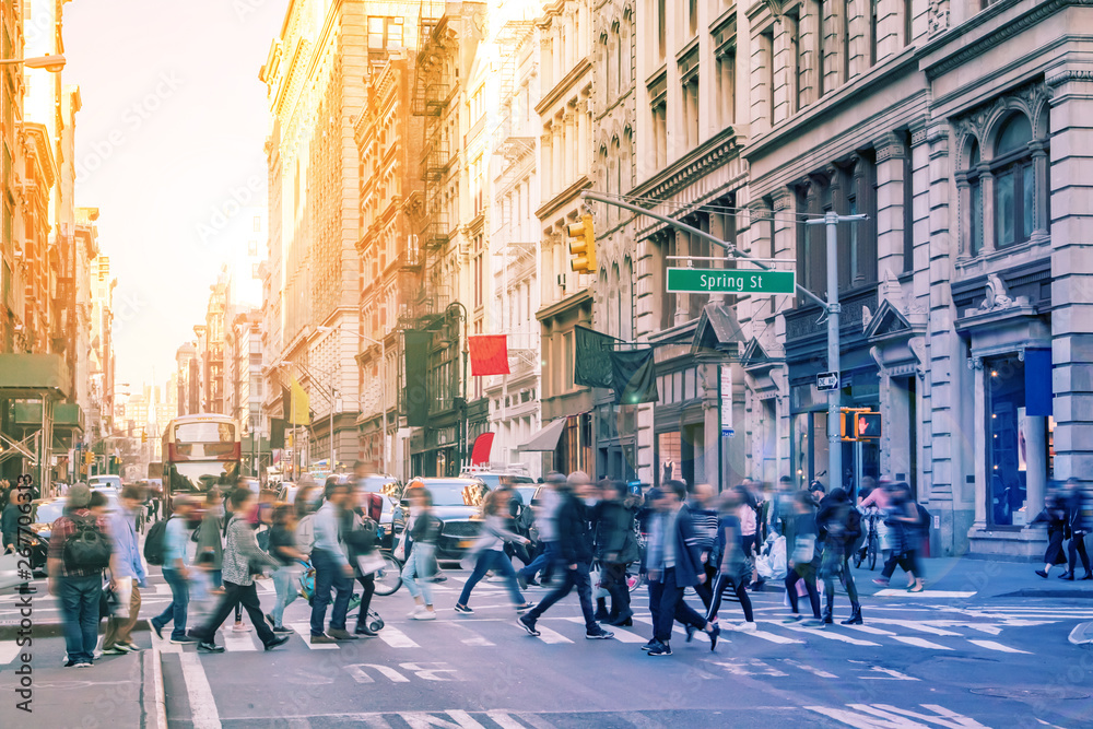 Fototapety, obrazy: Diverse groups of people walk across the crowded intersection of Broadway and Spring Street in the SoHo neighborhood of Manhattan in New York City