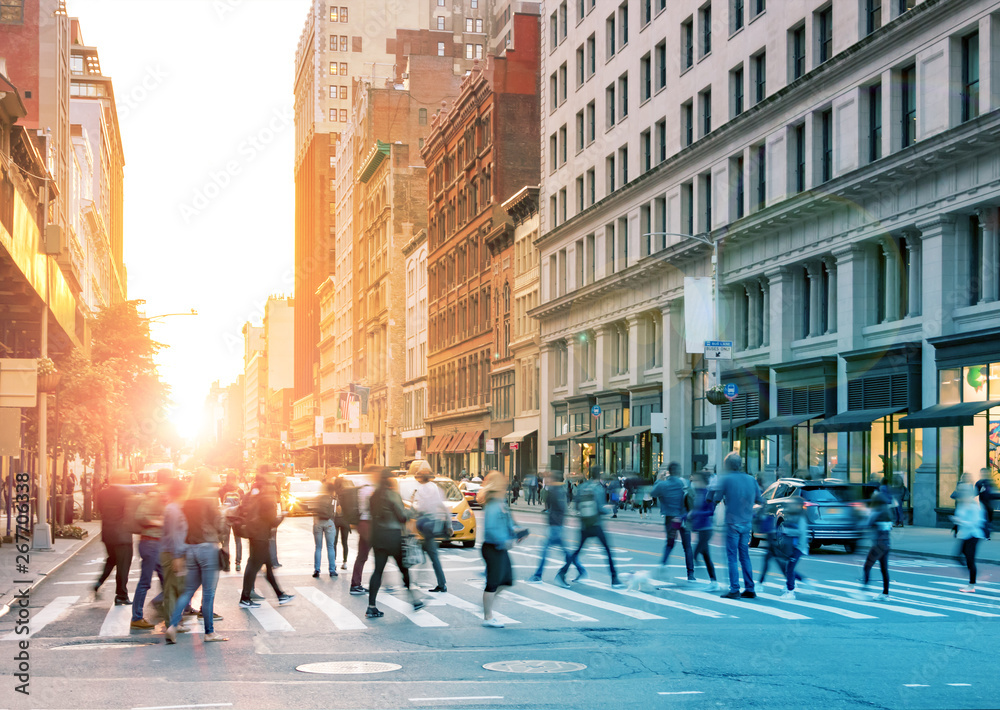 Fototapety, obrazy: Crowds of people walking across the busy intersection of 23rd Street and 5th Avenue in Midtown Manhattan, New York City