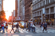 Crowds Of People In Motion Across The Busy Intersection Of 23rd Street And 5th Avenue In Midtown Manhattan, New York City