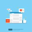 Social media network and digital marketing concept for poster, web page, banner, presentation. web traffic audience analysis for business growing strategy. Flat style vector illustration