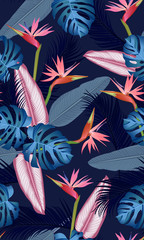 FototapetaSeamless pattern tropical leaves with bird of paradise on dark blue background