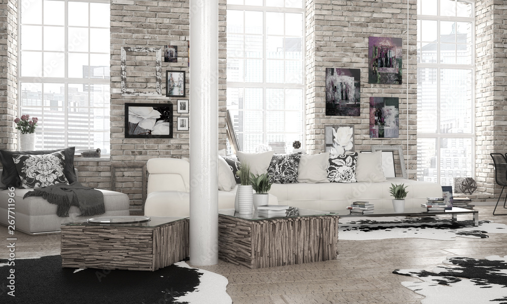 Fototapety, obrazy: City-Apartment - 3d visualization
