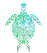 Silhouette Of A Sea Turtle Top View With Turquoise Watercolor Background. The Object Is Separate From The Background. Vector Element For Articles, Logos, Icons And Your Design.