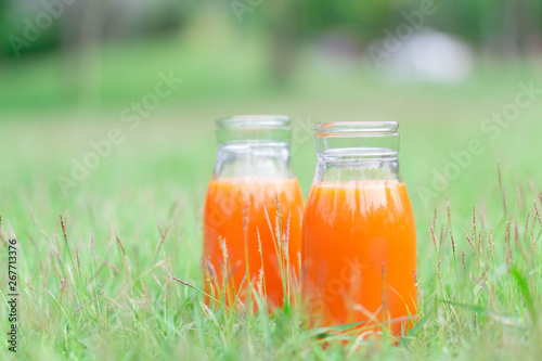 Closeup glass bottle of orange juice fruit on green grass nature background, food healthy concept