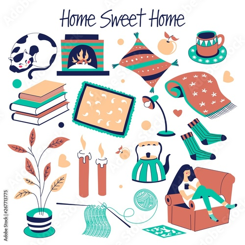 Sweet home furniture and house decor isolated objects