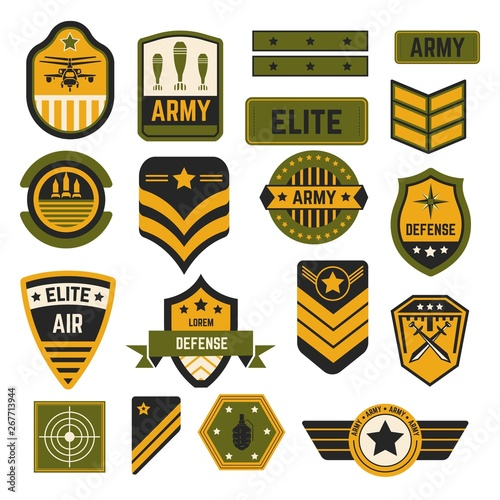 Photo  Army signs and badges or stripes elite military isolated icons