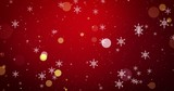 Golden, snowflakes and bokeh lights on the red Christmas background. 3D render - 267715153