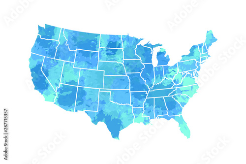 Obraz na plátně  Watercolor USA map vector in blue painting color with borders of the states on w