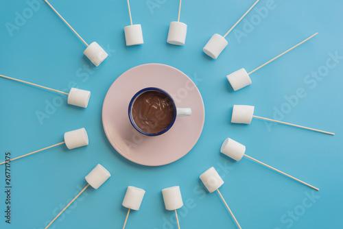 Foto auf Leinwand Schokolade Marshmallows with chocolate in a beatiful background
