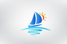 Boat Waves And Sun Logo Vector