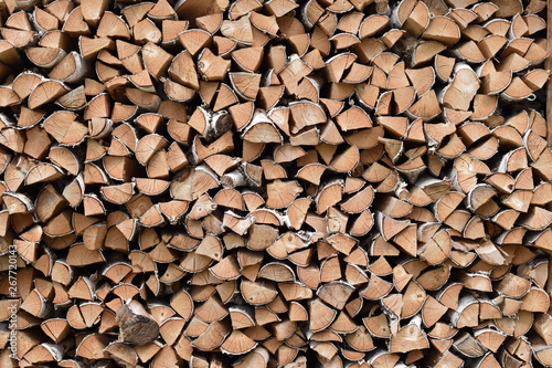Firewood prepared for the fireplace