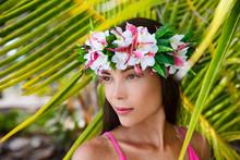 Tahiti Beauty Woman Wearing Flower Head Wreath Traditional Tahitian Cultural Accessory. Bora Bora, French Polynesia. Beautiful Asian Multiracial Girl.