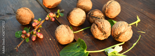 Hazelnuts and nuts arangement on the brown wooden table. Natural healthy meal concept