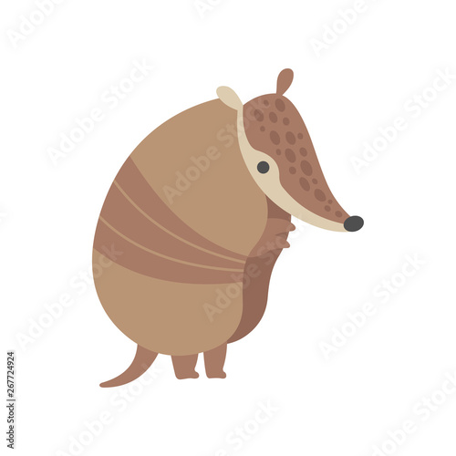 Cute Armadillo Pleistocene Animal Standing on Two Legs Vector Illustration Canvas Print
