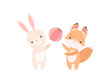 Lovely White Little Bunny and Fox Cub Playing with Ball, Cute Best Friends, Adorable Rabbit and Pup Cartoon Characters Vector Illustration