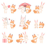 Fototapeta Fototapety na ścianę do pokoju dziecięcego - Lovely White Little Bunny and Fox Cub Playing Together Set, Cute Best Friends, Adorable Rabbit and Pup Cartoon Characters Vector Illustration