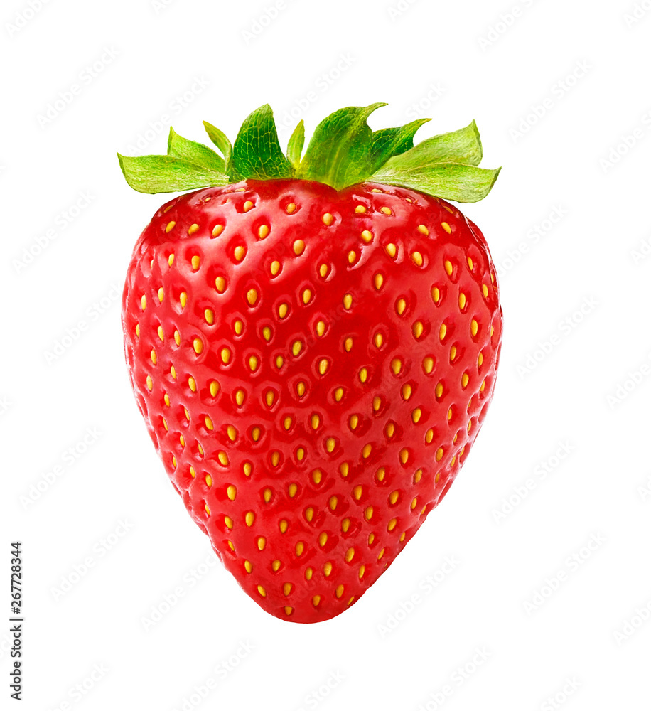 Fototapety, obrazy: Beautiful strawberry isolated on white background. Studio shot of strawberry.