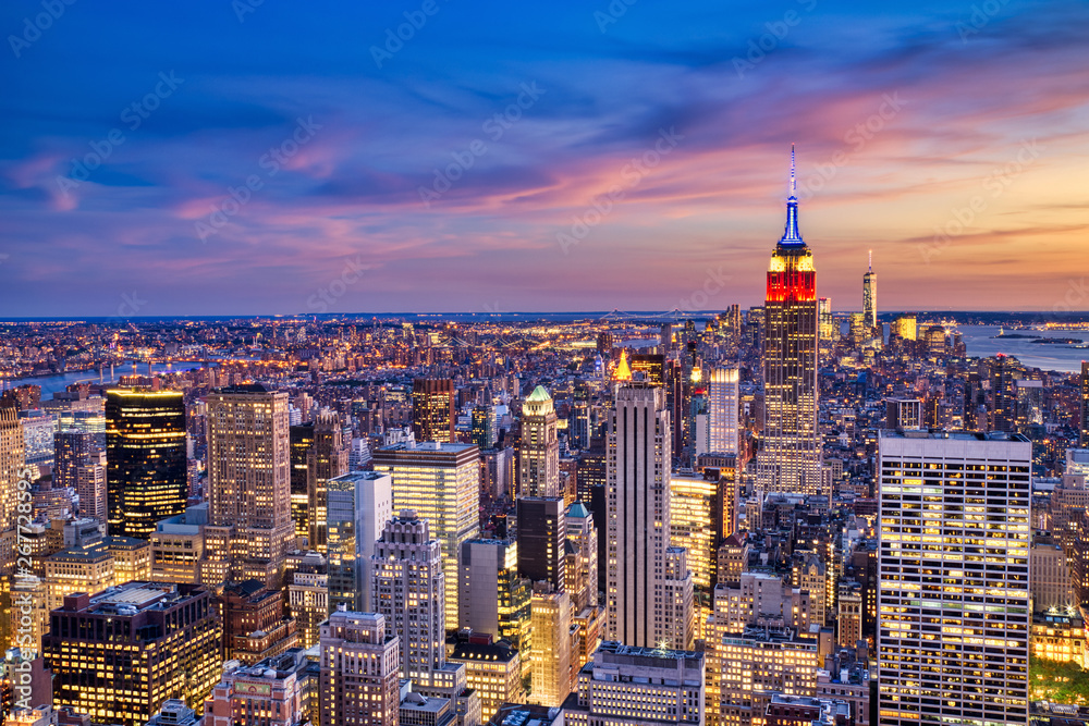 Fototapety, obrazy: New York City Midtown with Empire State Building at Dusk from Helicopter View