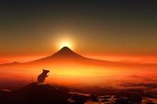 富士山の日の出とネズミのシルエット