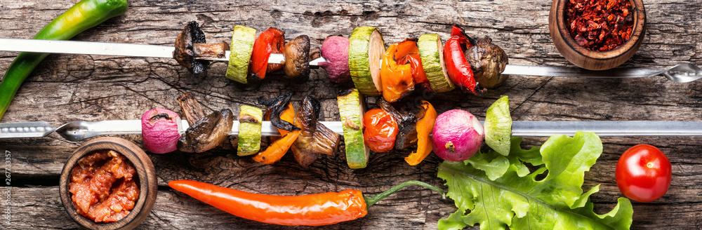 Fototapety, obrazy: Grilled vegetables skewers kebab