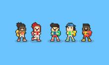 Pixel Cartoon Children Character With Backpack.Back To School Concept.8bit.