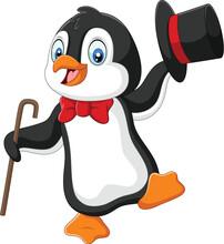 Cartoon Penguin Holding Hat An...