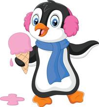 Cartoon Penguin With Earmuffs And Scarf Eats An Ice Cream