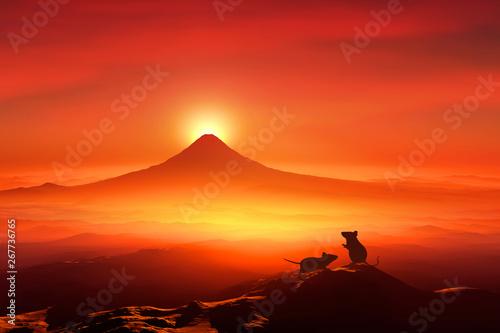Foto op Canvas Rood 富士山の日の出とネズミのシルエット