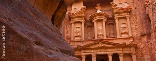 Photographie  El Tesoro (The Treasury, en árabe Al Khazneh), Cañón As-Siq, Petra, Jordania, Or