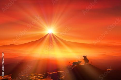 Foto auf AluDibond Rot 富士山の日の出とネズミのシルエット