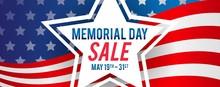 Memorial Day Sale Banner Vector Illustration. Star On USA Flag Background