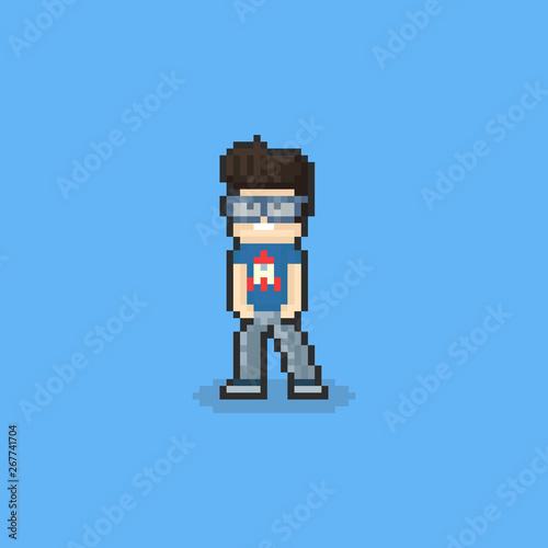 Fotomural Pixel nerd guy character design.8bit.