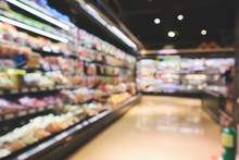 Abstract Supermarket Aisle Interior Blurred Defocused Background With Bokeh Light