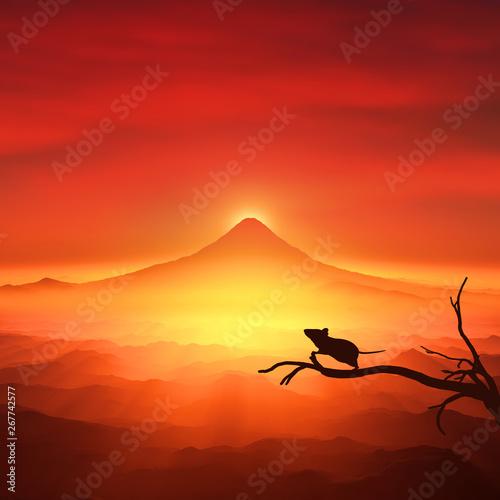 Recess Fitting Red 富士山の日の出とネズミのシルエット