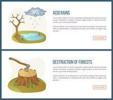 Destruction Of Forests Vector, Deforestation And Acid Rain, Harmful Liquid, Lake And Tree Without Leaves. Ax Environmental Problems Info. Website Or Webpage Template Flat Style. Concept For Earth Day