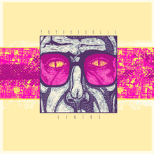 Psychedelic Center, Design CD Cover Or Poster With A Man In Colored Glasses With Snake Eyes, Vector Illustration,