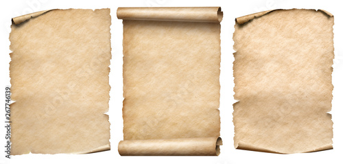 Vintage paper or parchments set isolated on white - 267746139