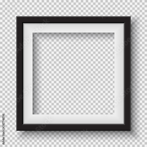 Foto Black, white frame with soft shadow hanging on light squared room wall for text