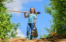 Gardening. Kid Worker Sunny Ou...