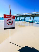 Danger Swimming Sign Beach, Red Flag.