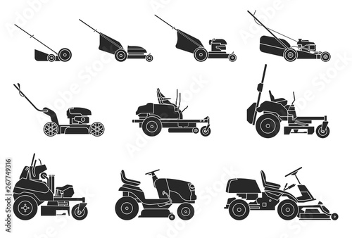 Tela Various types of lawn mowers isolated on white background