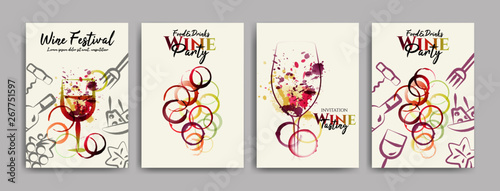Fotografía collection of templates with designs for wine, wine and food events