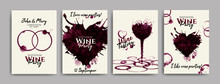 Collection Of Wine Designs For Wedding Parties, Bridal Shower Party, Celebrations. Shapes Of Hearts And Rings With Wine Stains. Invitations, Cards, Web Banners. Vector Illustration
