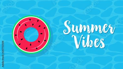Floats Summer Pool Party Invitation Card Vector Illustration