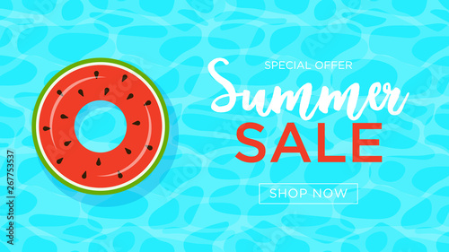 Floats Summer Pool Party Invitation Card Sale Vector