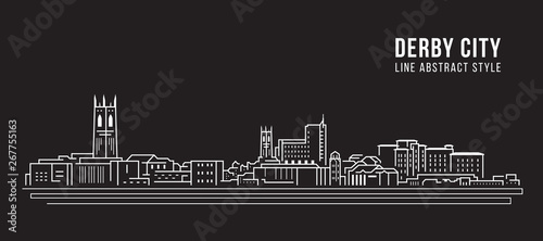 Stampa su Tela Cityscape Building Line art Vector Illustration design -  derby city