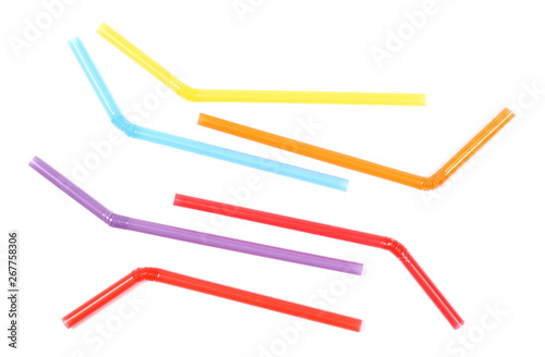 Colorful drinking straws isolated on white background, top view Canvas Print
